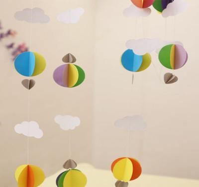 Diğer - Kağıttan Bulut Daire ve Kalp Zincir Asma Süs Karışık Renk
