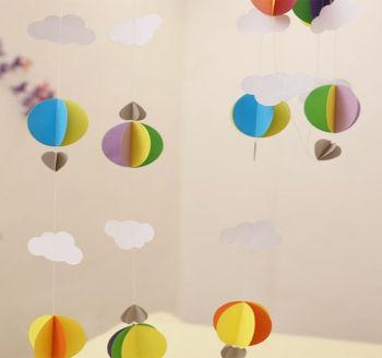 Kağıttan Bulut Daire ve Kalp Zincir Asma Süs Karışık Renk