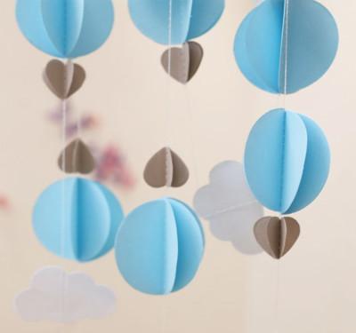 Kağıttan Bulut Daire ve Kalp Zincir Asma Süs Mavi - Thumbnail