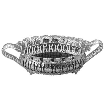 Diğer - Kalp Desenli Kulplu Gondol Jardinyer Gümüş