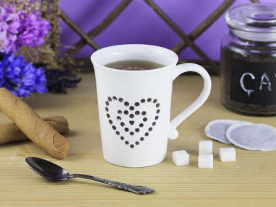 Diğer - Kalp Desenli Şeffaf Porselen Kupa Bardak 370ml