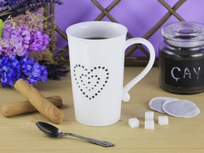 Diğer - Kalp Desenli Şeffaf Porselen Kupa Bardak 720ml