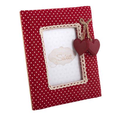 Kalp Figürlü Puantiyeli Ahşap Çerçeve 19cm Kırmızı - Thumbnail