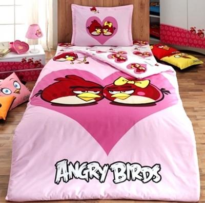 Diğer - Kalp İçerisinde İkili Angry Birds Nevresim Takımı Tek Kişilik