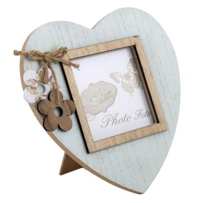 Diğer - Kalp Şeklinde Ahşap Çerçeve 18cm Mint