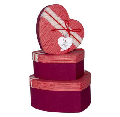Diğer - Kalp Şeklinde Dantelli Hediye Kutusu 3lü Set