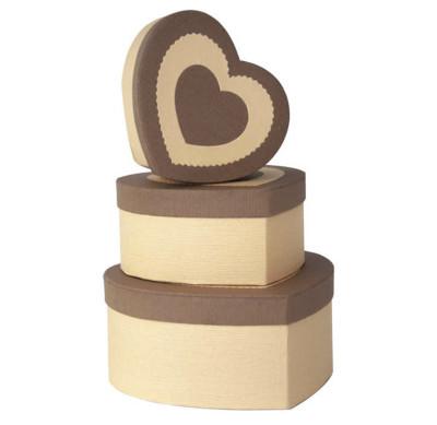 Diğer - Kalp Şeklinde Kalp Desenli Hediye Kutusu Kahverengi 3lü Set