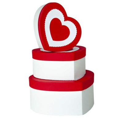 Diğer - Kalp Şeklinde Kalp Desenli Hediye Kutusu Kırmızı 3lü Set