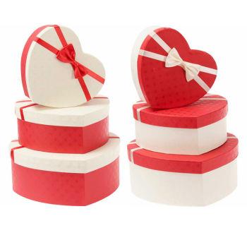 Kalp Şeklinde Kare Desenli Hediye Kutusu 3lü Set