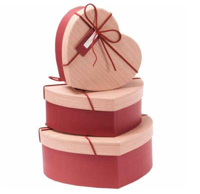 Diğer - Kalp Şeklinde Kurdeleli Hediye Kutusu Kırmızı 3lü Set