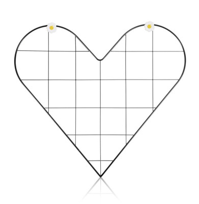 Kalp Şeklinde Metal Fotoğraf Asma Panosu ve Notluk 52x36cm - Thumbnail