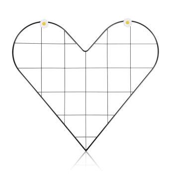 Kalp Şeklinde Metal Fotoğraf Asma Panosu ve Notluk 52x36cm