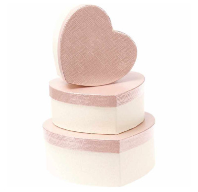 Diğer - Kalp Şeklinde Metalik Hediye Kutusu Bronz 3lü Set