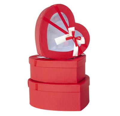 Diğer - Kalp Şeklinde Pencereli Hediye Kutusu 3lü Set