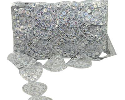 Diğer - Kalp Şeklinde Pul İşlemeli Dekoratif Şerit Kurdele Gümüş 6cmx10mt