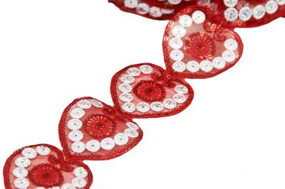 Diğer - Kalp Şeklinde Pul İşlemeli Dekoratif Şerit Kurdele Kırmızı 6cmx10mt