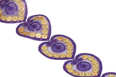 Diğer - Kalp Şeklinde Pul İşlemeli Dekoratif Şerit Kurdele Mor 6cmx10mt