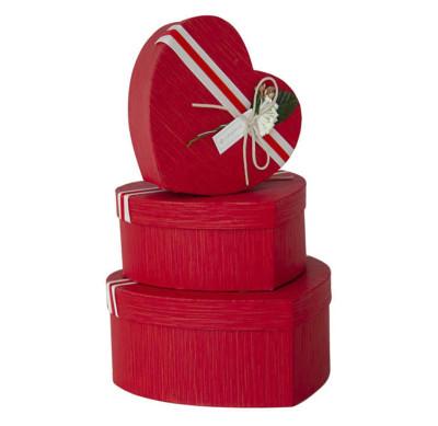 Diğer - Kalp Şeklinde Şeritli Hediye Kutusu 3lü Set