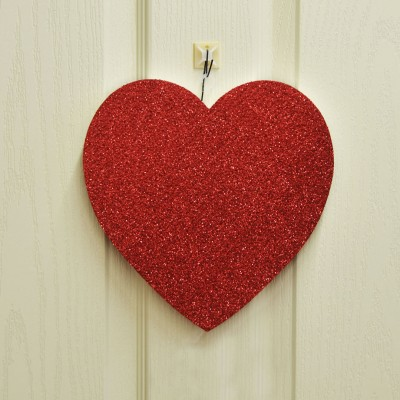 Diğer - Kalp Şeklinde Strafor Kapı Duvar Süsü Kırmızı 25cm