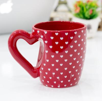 Diğer - Kalp Tasarımlı Porselen Dev Kupa Bardak 350ml