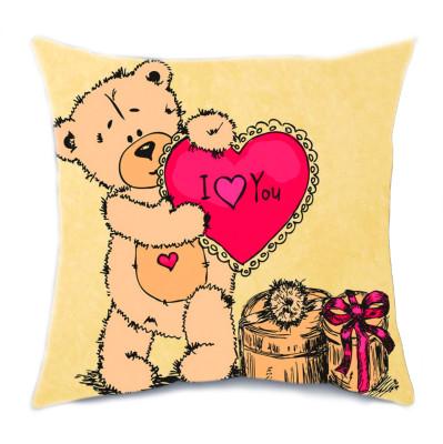 Diğer - Kalpli Ayıcık Desenli Kırlent Yastık 35cm