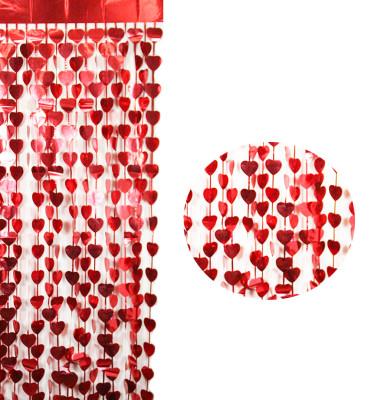 Diğer - Kalpli Folyo Kağıt Parlak Kapı Perdesi Kırmızı