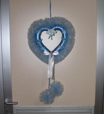 Diğer - Kalpli Kurdeleli Tül Ponponlu Erkek Bebek Kapı Süsü Mavi