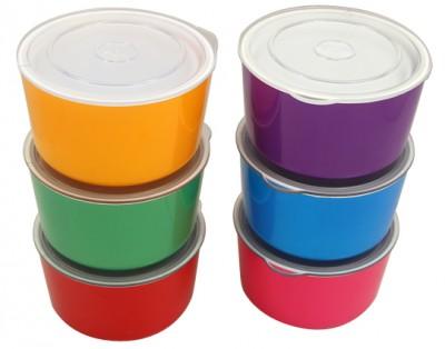 Kapaklı Karışık Renkli Derin Saklama Kabı 6 Parça - Thumbnail