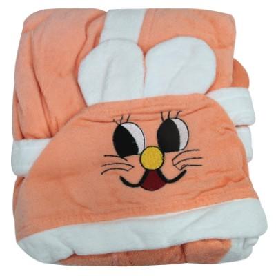 Diğer - Kapşonlu Tavşan Tasarımlı Çocuk Bornozu Yavruağzı