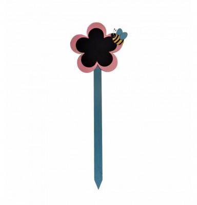 Decotown - Kara Tahtalı Ahşap Çubuk Saksı Levhası Mavi 38cm