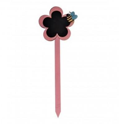 Decotown - Kara Tahtalı Ahşap Çubuk Saksı Levhası Pembe 38cm