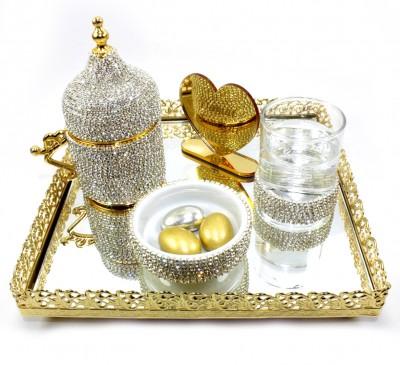 Diğer - Kare Jardinyer Tepsili Taşlı Damat Fincanı Seti Gold