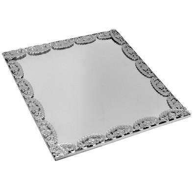 Diğer - Kare Kenarları Süslü Aynalı Supla ve Yüzük Tepsisi Gümüş