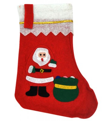 Diğer - Karışık Noel Figürlü Yeni Yıl Hediye Çorabı 35x16cm
