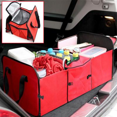 Diğer - Katlanabilir Soğuk Tutma Özellikli 3 Bölmeli Bagaj Düzenleyici Çanta Kırmızı