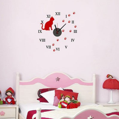 Diğer - Kedi Tasarımlı Duvara Yapışan Sticker Saat