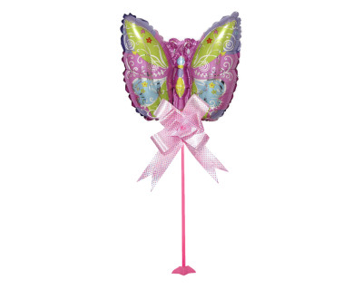 Diğer - Kelebek Figürlü Parti Masa Süsü Çubuklu Folyo Balon Pembe
