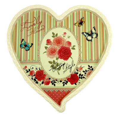 Diğer - Kelebek ve Çiçek Desenli Kalp Şeklinde Melamin Tepsi Krem