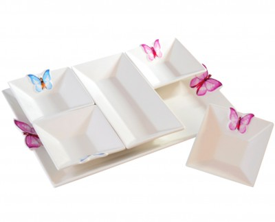 Diğer - Kelebekli ve Tepsili Porselen Kahvaltı Seti 6 Parça