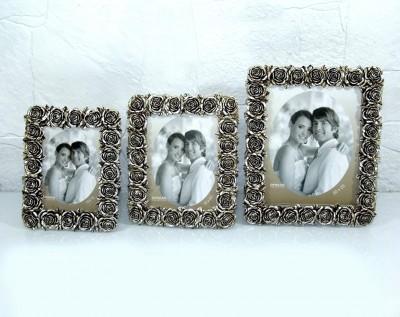 Diğer - Kenarları Güllü Fotoğraf Çerçevesi Gümüş 13x18cm