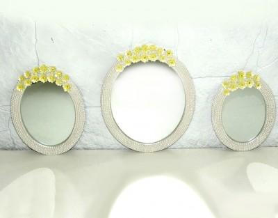Diğer - Kenarları İncili Sarı Çiçek Süslemeli 3lü Oval Ayna Seti