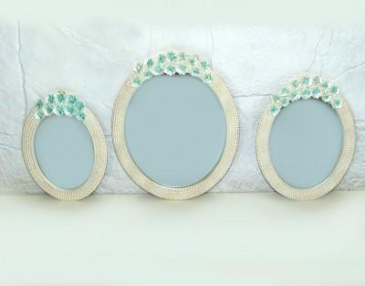 Diğer - Kenarları İncili Turkuaz Çiçek Süslemeli 3lü Oval Ayna Seti