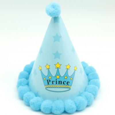 Diğer - Kenarları Pompomlu Prens Doğum Günü Çocuk Şapkası Mavi