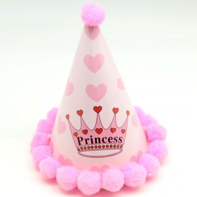 Diğer - Kenarları Pompomlu Prenses Doğum Günü Çocuk Şapkası Pembe