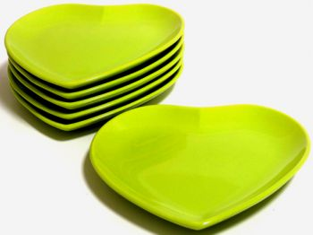 Keramika Seramik Kalp Tabak Yeşil 20cm