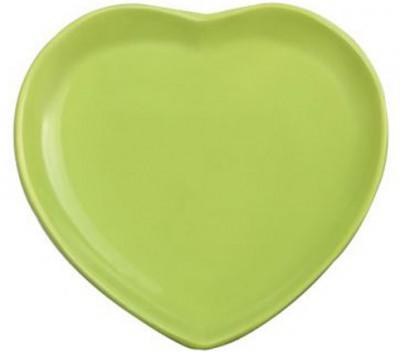 Keramika - Keramika Seramik Kalp Tabak Yeşil 23,5cm
