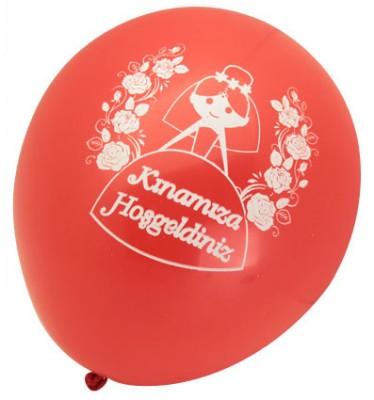 Diğer - Kınamıza Hoşgeldiniz Baskılı Karışık Renkli Balon 100 Adet