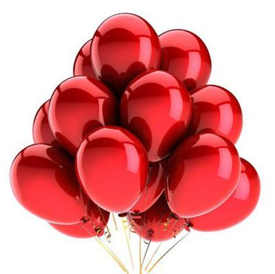 Diğer - Kırmızı Renkli Metalik Süsleme ve Parti Balonu 20li