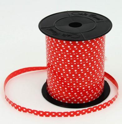 Kırmızı Üzeri Beyaz Puantiyeli Rafya 8mmx200mt Kırmızı - Thumbnail