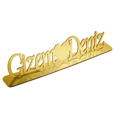 Diğer - Kişiye Özel Standlı Pleksi Ayna İsimlik Gold 50cm